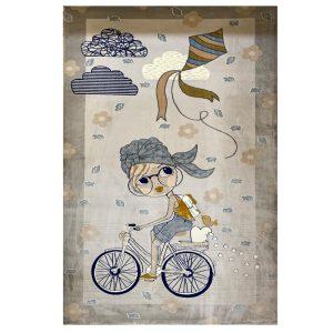 فرش کودک طرح دختر دوچرخه سوار