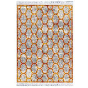 فرش مراکشی خاکستری طلایی