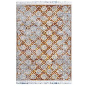 فرش مراکشی خاکستری طلایی کد 100475
