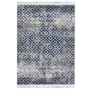 فرش مراکشی خاکستری آبی کد 100473
