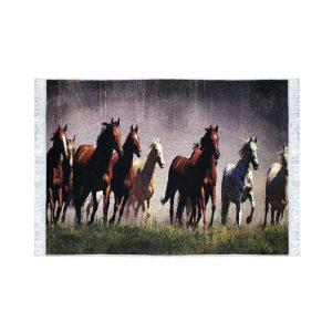 تابلو فرش کلاریس طرح گله اسب