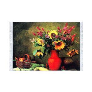 تابلو فرش کلاریس طرح گل و گلدان