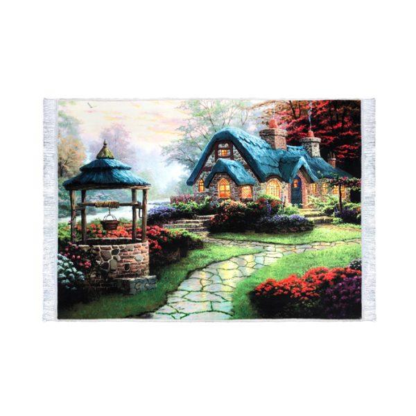 تابلو فرش طرح منظره کلبه رویایی