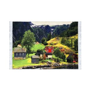تابلو فرش کلاریس طرح خانه کوهستانی