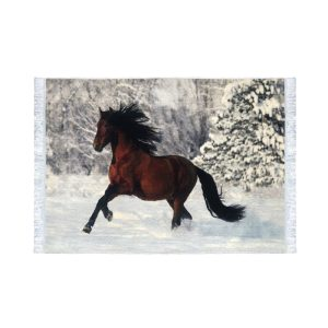 تابلو فرش کلاریس طرح اسب کوهستان