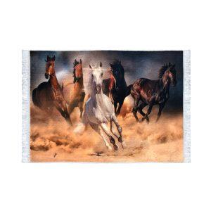 تابلو فرش کلاریس طرح گله اسب های وحشی