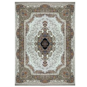 فرش ماشینی 1000 شانه طرح بهشت کرم گل برجسته