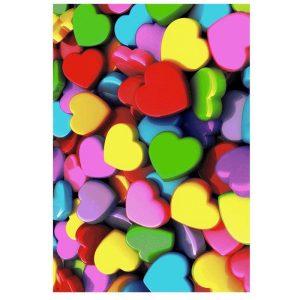 فرش اتاق کودک طرح قلب های رنگی