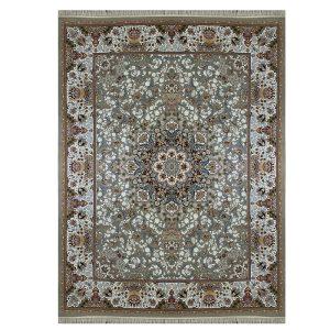 فرش ماشینی 1000 شانه طرح مهر آذر نقره ای گل برجسته