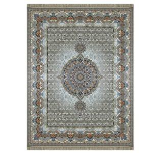 فرش ماشینی 1000 شانه طرح کادو نقره ای گل برجسته