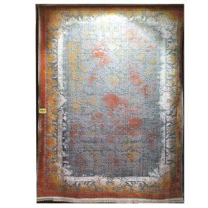 فرش کهنه نما زمینه نقره ایی آجری کد S824