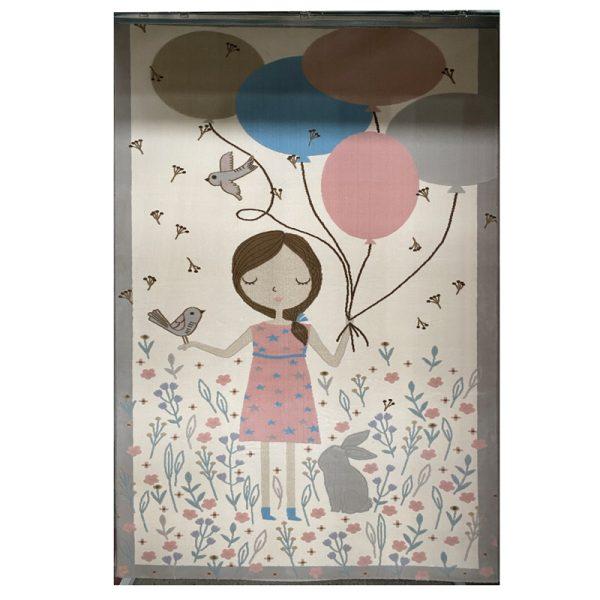 فرش کودک طرح دختر با بادکنک کد SB905