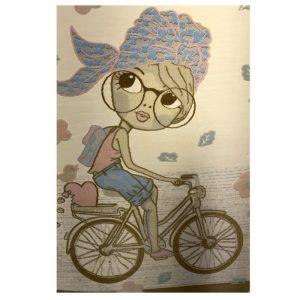 فرش کودک طرح دختر دوچرخه سوار کد SB907