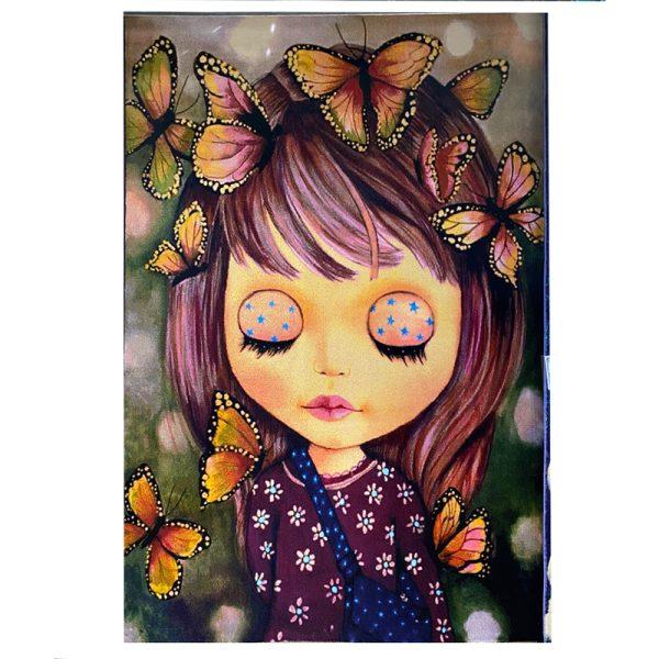 فرش کودک دختر و پروانه