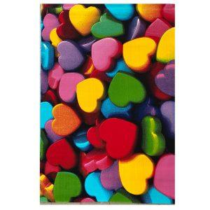فرش کودک قلب های رنگی