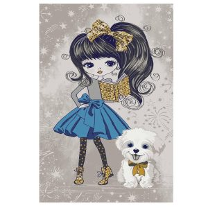 فرش کودک دختر با سگ سفید کدSB946