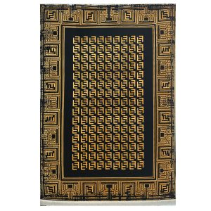 فرش فندی زمینه ذغالی طلایی کد S844