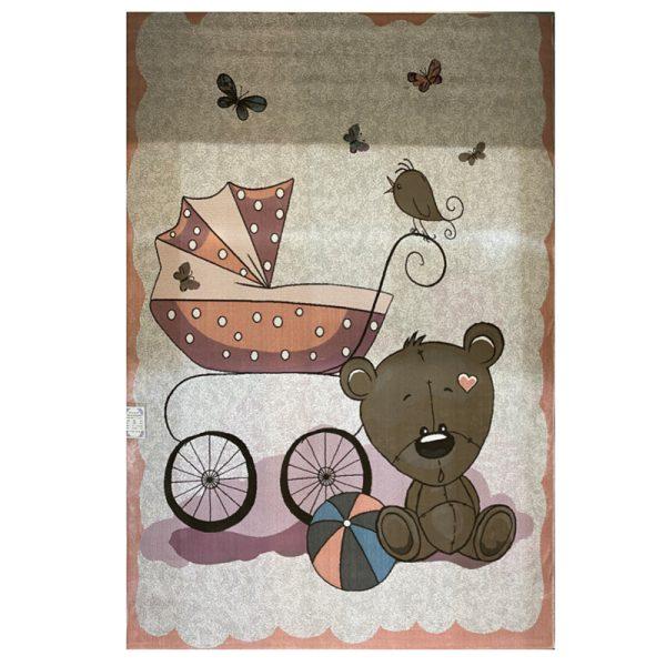 فرش کودک خرس تدی و کالسکه