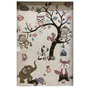 فرش کودک طرح جنگل حیوانات