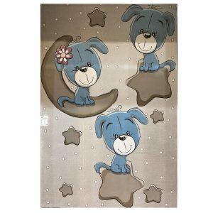 فرش کودک ماه و ستاره و سگ