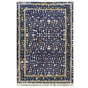 فرش فانتزی زمینه سرمه ایی کد S841