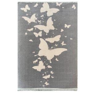 فرش فانتزی طرح پروانه زمینه طوسی کد S839