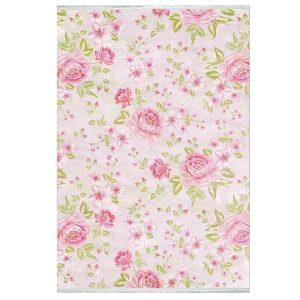 فرش فانتزی طرح گل زمینه گلبهی کد100443