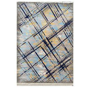 فرش مدرن زمینه نقره ایی آبی کد S712