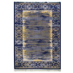 فرش مدرن سرمه ای طلاییی کد S705