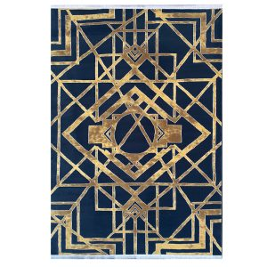 فرش هندسی 500شانه سرمه ایی کدk50037