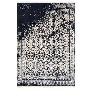 فرش وینتیج 500شانه ذغالی سفید کدk50011