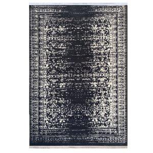 فرش کهنه نما کرم ذغالی کدk50021