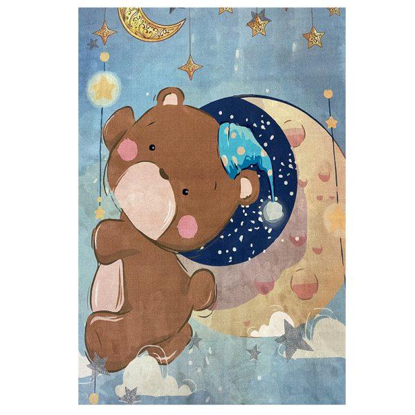فرش کودک طرح خرس وماه کد100288