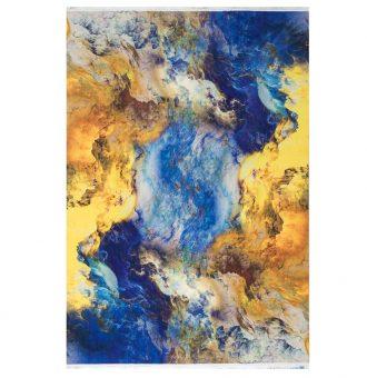 فرش آبرنگی زمینه طلایی آبی کد100403