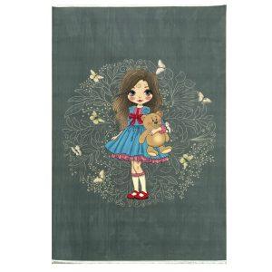 فرش کودک اختصاصی دختر پروانه طوسی