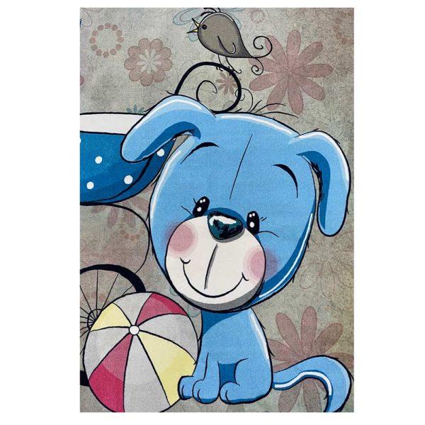 فرش کودک خرس وکالسکه آبی کد100293