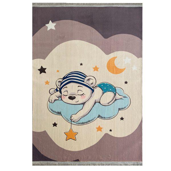 فرش کودک چاپی خرس روی ابر کد1026