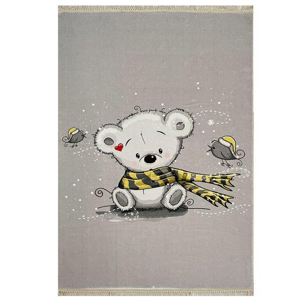 فرش کودک چاپی خرس شال دار کد1024