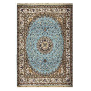 فرش ماشینی ۱۲۰۰شانه زمینه آبی کدSH-1241