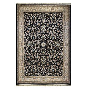 فرش ماشینی ۱۲۰۰شانه زمینه ذغالی کدSH-1240