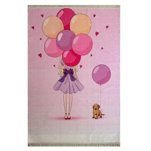فرش کودک چاپی طرح دختر و بادکنک کد1033